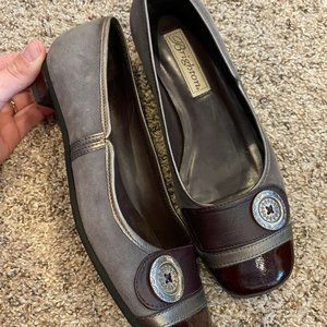 Brighton Gray Brown Suede Leather Ballet Flats 5.5